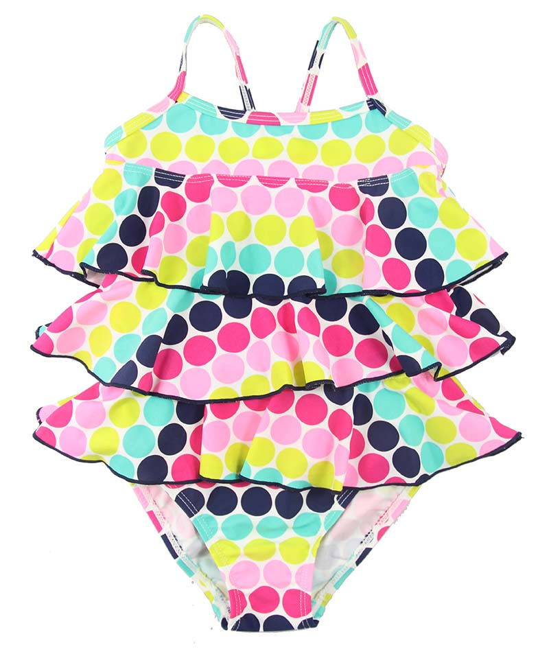 Color dots girls tank suits