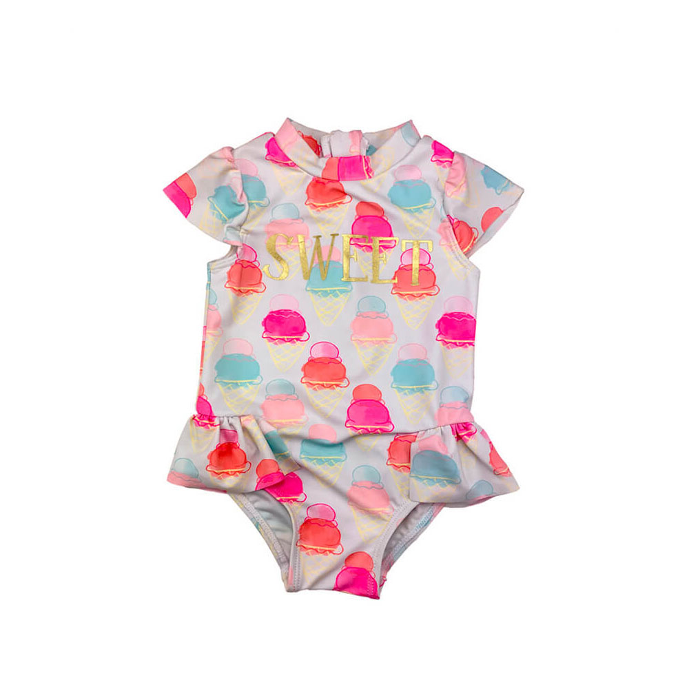 allover printing bathing suit