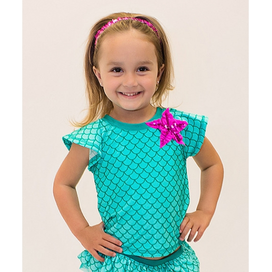Cute mermaid girls rash guard